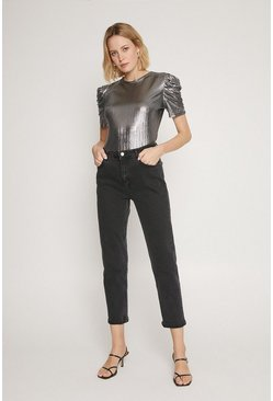 Silver Ruched Sleeve Metallic Top