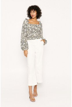 Green Floral Square Neck Blouse