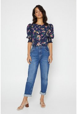 Blue Floral Puff Sleeve Shirred Cuff Top