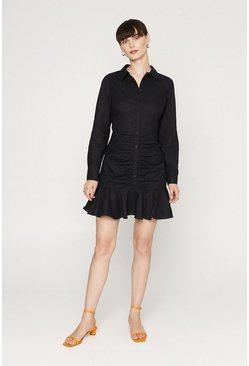 Black Cotton Rouched Shirt Dress