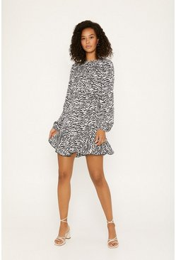 Blackwhite Zebra Long Sleeved Dress
