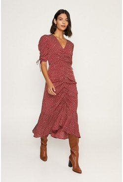 Brown Rouched Front Tie Sleeved Midi Dress