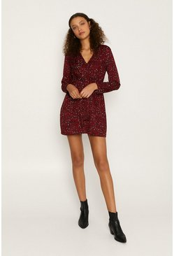 Red Knot Front Long Sleeved Dress