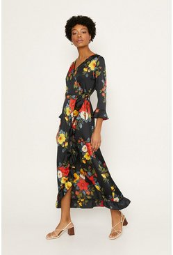 Black Floral Satin Wrap Midi Dress