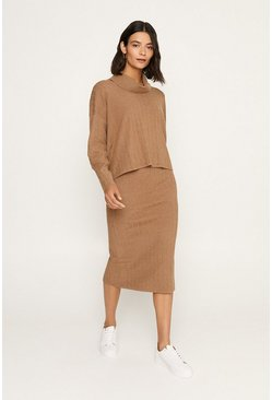 Camel Knitted Co-ord Jumper