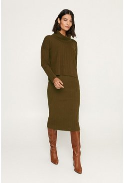 Khaki Knitted Co-ord Jumper