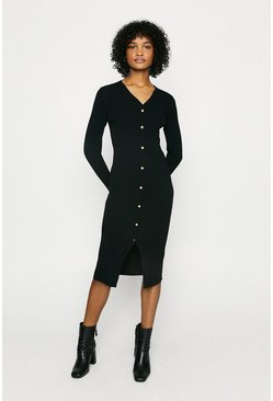 Black Button Detail Rib Dress