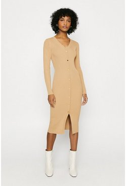 Camel Button Detail Rib Dress