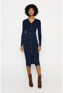 Navy Button Detail Rib Dress