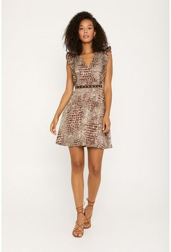 Brown Animal Print Sleeveless Skater Dress