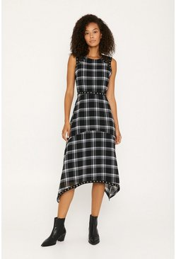 Black Check Eyelet Trim Sleeveless Midi Dress