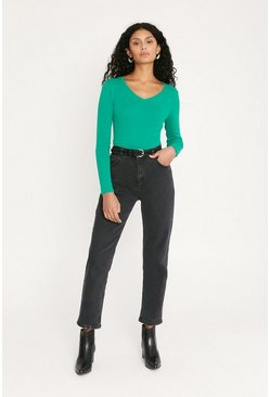 Green V Neck Long Sleeve Top