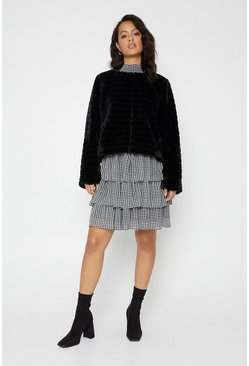 Black Collarless Faux Fur Line Coat