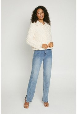 Natural ivory Twisted Faux Fur Short Coat