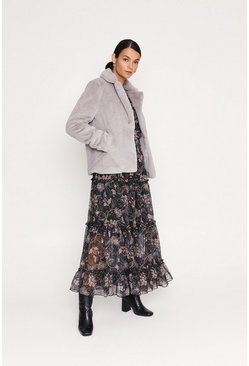 Grey Short Straight Faux Fur Coat