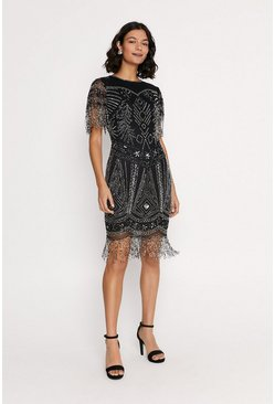 Black Embellished Fringed Shift Dress