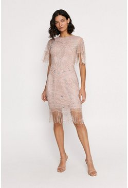 Nude Embellished Fringed Shift Dress