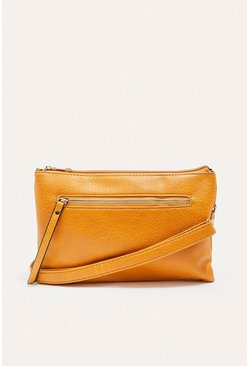 Mustard Zip Front Cross Body Bag