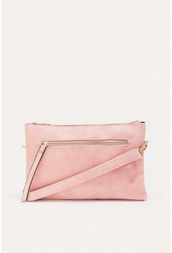 Pale pink Zip Front Cross Body Bag