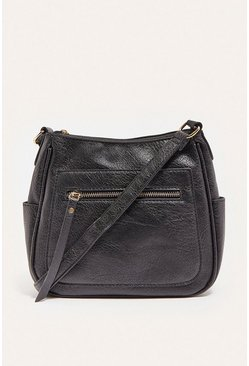 Black Messenger Cross Body Zip Front Bag