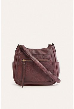 Burgundy Messenger Cross Body Zip Front Bag