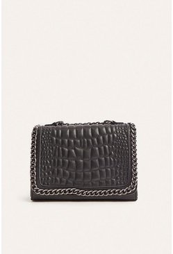 Black Chain Edge Cross Body Bag