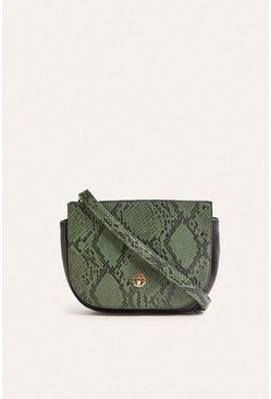 Green Faux Snake Saddle Bag
