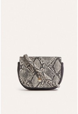 Grey Faux Snake Saddle Bag
