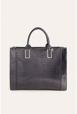 Black Faux Croc Tote Bag
