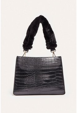 Black Fur Handle Grab Bag