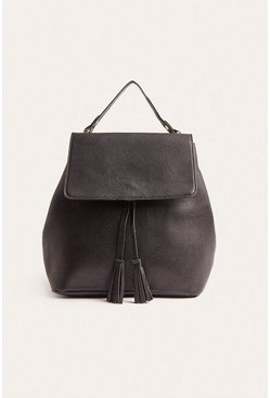 Black Tassel Front Backpack