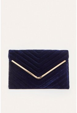 Navy Velvet Quilted Envelope Clutch