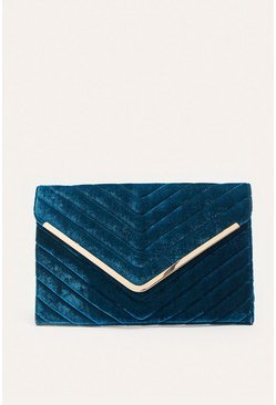 Teal Velvet Quilted Envelope Clutch