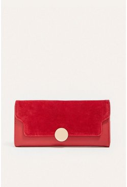 Red Suedette Patched Purse