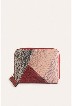 Red Faux Snake Colourblock Wallet