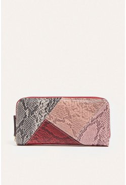 Red Faux Snake Colourblock Purse