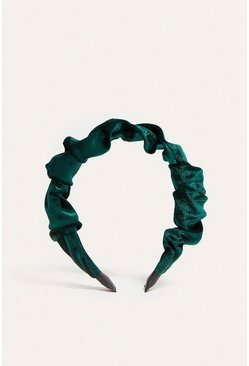 Green Ruched Velvet Headband