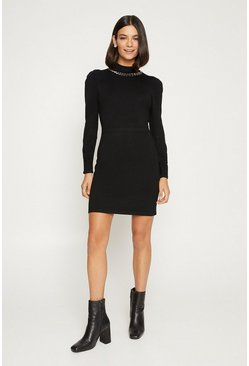 Black Embelished High Neck Dress