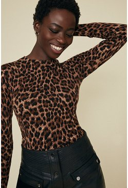 Brown Leopard Print Crew Jumper