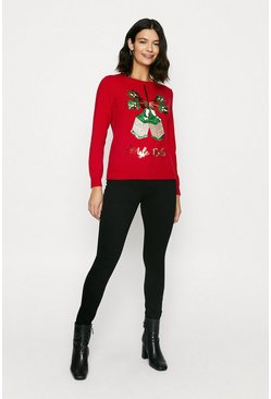 Red Gingle Bells Sequin Christmas Jumper