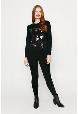 Black Christmas Bunting Sequin Jumper