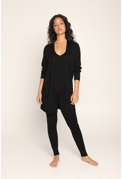 Black Cardigan Vest and Trouser Loungewear Set