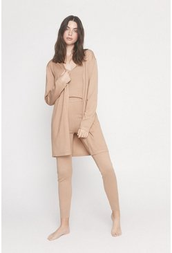 Camel Cardigan Vest and Trouser Loungewear Set