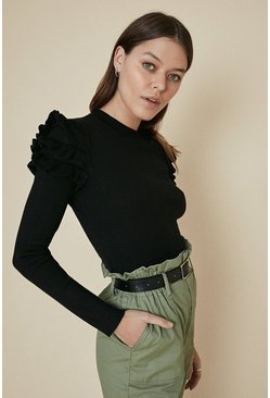 Black Ruffle Shoulder Knitted Jumper