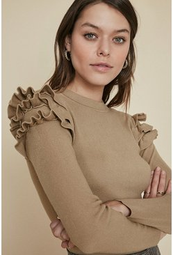 Camel Ruffle Shoulder Knitted Jumper