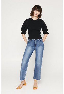 Black Shirred Body Puff Sleeve Top