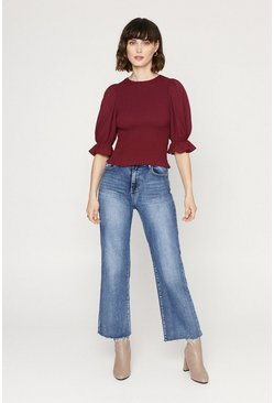 Burgundy Shirred Body Puff Sleeve Top