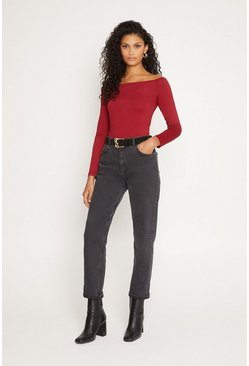 Berry Bardot Long Sleeve Top