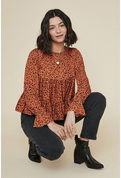 Rust Slinky Jersey Printed Tiered Top