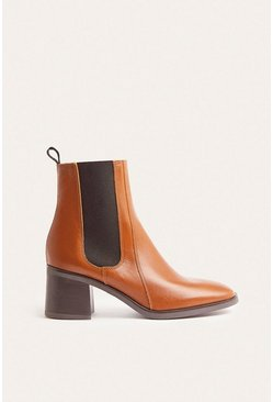 Tan High Ankle Heeled Leather Chelsea Boot